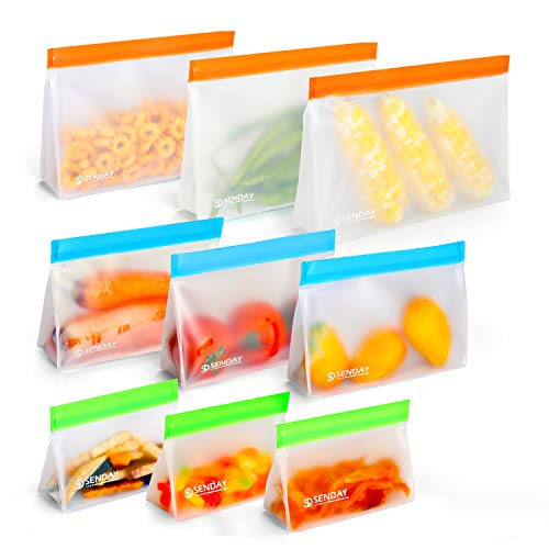 Reusable Storage Bags, 9 Pack Stand-up Silicone Food Storage Bag (3 Reusable Gallon Bags, 3 Leakproof Sandwich Bags, 3 Thick Snack Bags) Zip-lock Freezer Bags for Vegetable, Fruit, Snack, Lunch