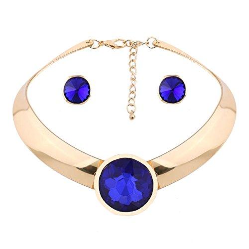 YAZILIND de Oro Chapado Mujeres Nupcial Azul Cubic Zirconia Collar Gargantilla Cristal Conjunto Pendientes del Collar de la joyer¨ªa