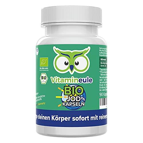 Bio Jod Kapseln - hochdosiert mit 400µg - natürliches Jod aus Bio Kelp Algen Extrakt - ohne künstliche Zusatzstoffe - Qualität aus Deutschland - vegan - Vitamineule®