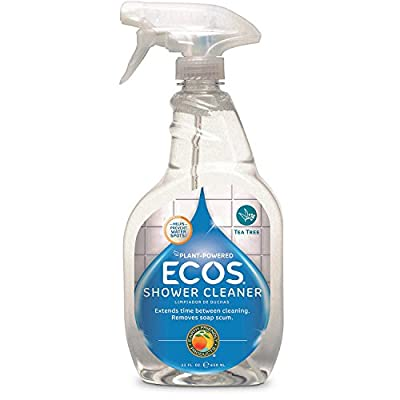 ECOS Non-Toxic Shower Cleaner Tea Tree Oil Bottle by Earth Friendly Products, 22 Fl Oz (Pack of 2)