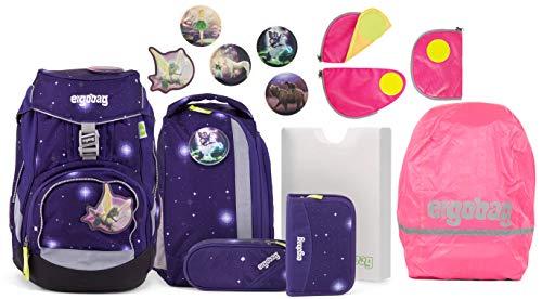 Ergobag Pack FeenzauBär Glow Schulrucksack-Set 6tlg. + Sicherheitsset + Regencape Pink