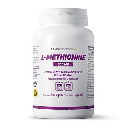 L-Metionina 500mg de HSN | Aminoácido Esencial | Alta Concentración | Sin Gluten, Sin Lactosa, Sin OMG | 120 Cápsulas Vegetales