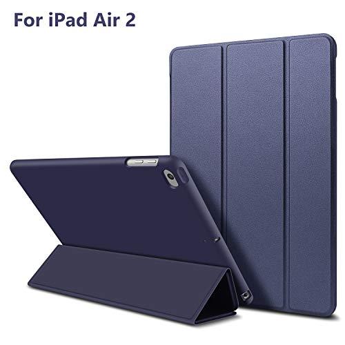 GOOJODOQ iPad Air 2 Hülle, iPad Air 2 PU Leder Etui Hülle Tasche mit Ständer Funktion und Eingebautem Magnet für Einschlaf/Aufwach Shockproof Silikon Weicher TPU Folio Hülle für Apple iPad Air 2