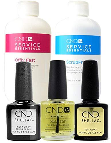 CND Shellac, base e top coat 7,3 ml, cleanser Scrub Fresh e Nourishing Remover 236 ml (etichette in lingua italiana non garantite)
