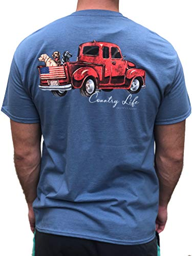 Country Life Outfitters Truck Dogs & American Flag Indigo Blue Mens Short Sleeve T-Shirt (3X-Large)