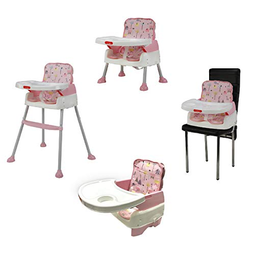 Luvlap 4 in 1 Convertible Baby High Chair Cum Booster Seat (Pink)