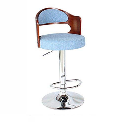 Ali@ Style européen Chaises de bar élégantes Chaise de bar Tabourets de bar Chaise de levage rotative Chaise de dossier en bois massif Chaise de bar Tabouret haut de la réception (Couleur : Bleu)