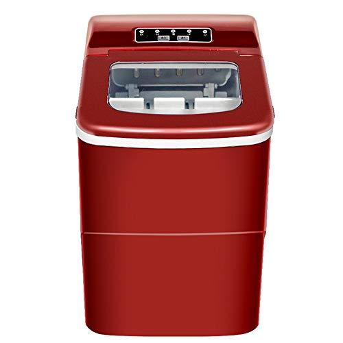 NBLL Automatische tragbare elektrische Desktop-Eismaschine, Mini-Eiswürfelmaschine für zu Hause, rot, Edelstahl, geeignet für zu Hause, KTV, Restaurants usw.
