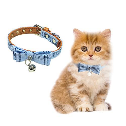 Andiker Collar de Cuero de Perro con Pajarita, Collar Pajarita de Perro Ajustable Suave y Cómoda para Perrita, Collar de Cuero de PU con Cascabel para Gatos, Perrita (Azul)