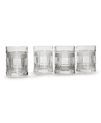 Lauren By Ralph Lauren Glen Plaid Double Old Fashioned Crystal Glass Set of 4