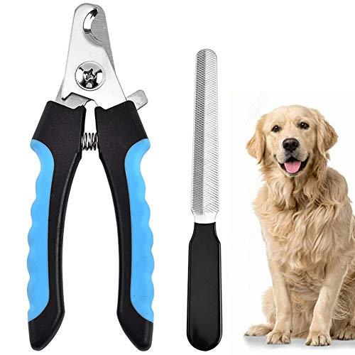 MIHOO Krallenschere Nagelschere + Krallenfeile für Hunde, Katzen & Kleintiere - Mit Abstandshalter - Safety Guard Nagelknipser Nagelpflege
