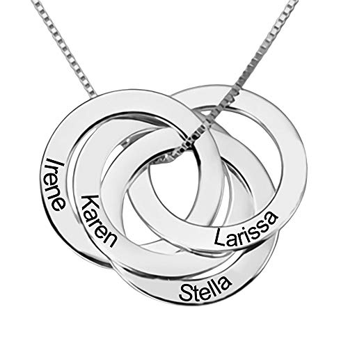 LeeHee Personalised Russian Four Ring Necklace in Sterling Silver Engraving Gold -Disc Necklace