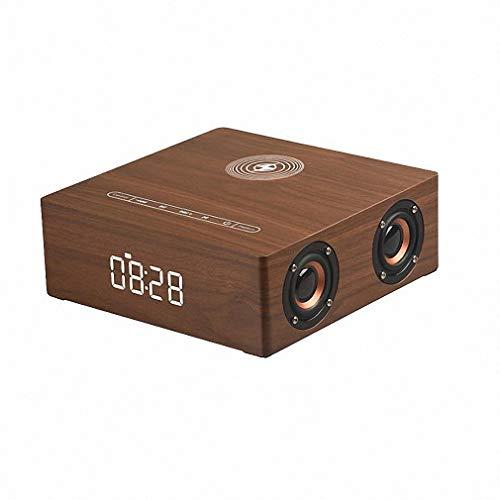 Draadloze bluetooth-luidspreker, bas-stereo, surround-sound-systeem, 4 luidsprekers, 12 W, hout, digitale wekker, Brownwood