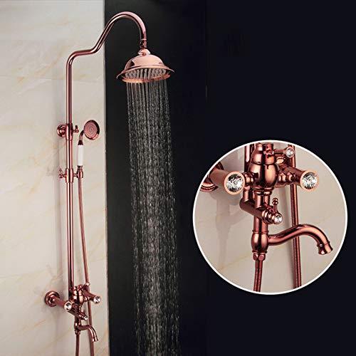BTASS Duschsystem Retro Nostalgie Regendusche Set Duschsäule Antik Duschset Dusche Brausegarnitur Mit Kopfbrause Regenbrause Dusche Komplett Set Mit Duschkopf