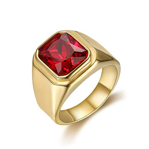 BOBIJOO JEWELRY - Ring Signet Ring Man's Cabochon Square Stainless Steel Doré Gold Plated Faux Ruby - Y (12 US), Gold Plated - Stainless Steel 316