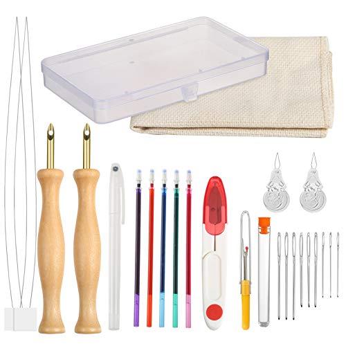 Pllieay 23 Pièces Kit de Broderie D'Aiguille de Poinçon Kit, Ajustables punch needle,aiguille à poinçonner, stylo à broder, enfile-aiguille, chiffon et outils pour débutant