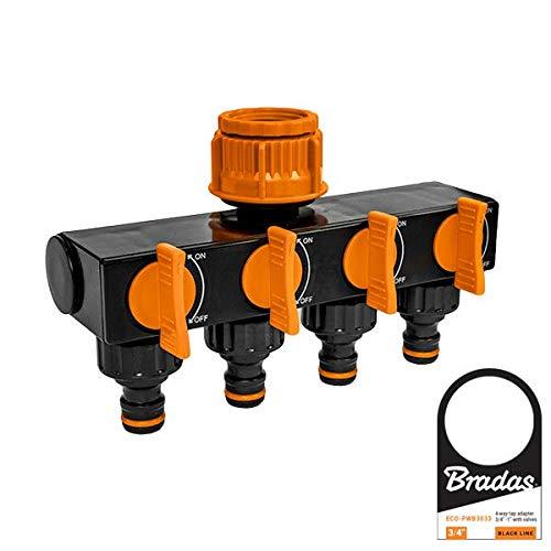 Bradas ECO-PWB3033 4-Fach Verteiler für Wasseranschluss, Schwarz, 10x5x5 cm