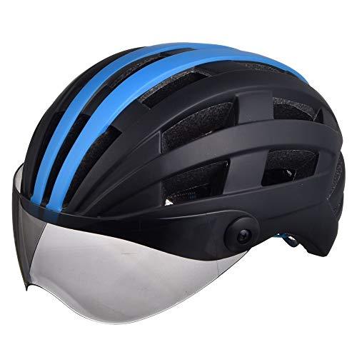 AJL Casco de Bicicleta de Ciclismo Negro y Azul con Gafas Moldeado...