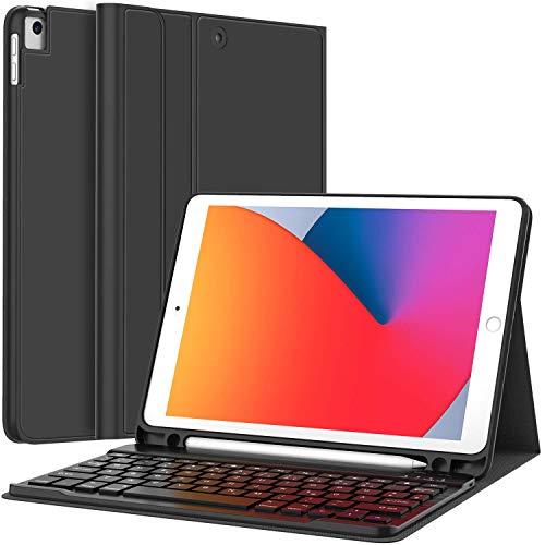 Earto Tastatur Hülle für Neues iPad 2020 10,2 / iPad 2019 10,2 Zoll(8./7.Gen),iPad Air 2019(3.Gen),iPad Pro 10,5 2017,QWERTZ iPad 10.2 Hülle mit Tastatur Bluetooth Schützhülle Standfunktion,Schwarz