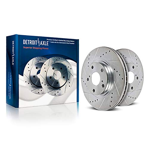 Detroit Axle - 13.94' (354mm) Drilled & Slotted FRONT Brake Rotors for Toyota Sequoia Tundra Limited Platinum