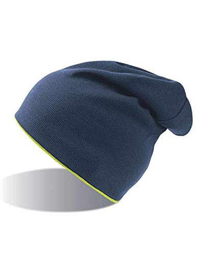 Atlantis Extreme Reversible Jersey Slouch Beanie - Navy/Safety Yellow - OS