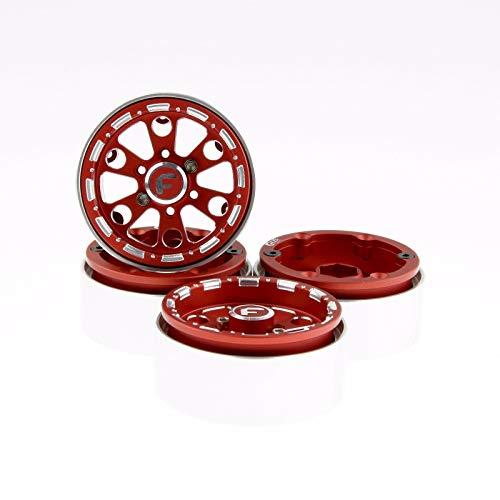"GDS Racing 1.9 inch Red Alloy Beadlock Wheel Rim Thickness 1"" for RC Model #094RD (4 Pack)"
