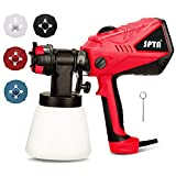 SPTA ESG26AC Electric Power Paint Sprayer - 5A/600W Motor, 1000ml/min HVLP Home Electric Spray Gun, Adjustable Air and Paint Flow Controls, 33.814fl.oz Container,3 Spray Patterns, 4 Nozzles Included