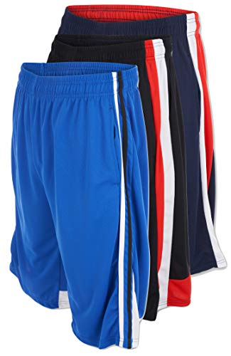 UNIQUE STYLES ASFOOR Pack of 3 Mens Athletic Basketball Shorts Elastic Drawstring Waistband & Pockets (X-Large, 3PK: Style 6)