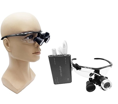 Zgood Portable Surgical Binocular Loupes 2.5X420mm Optical Glass + 3W LED Headlight (Black)