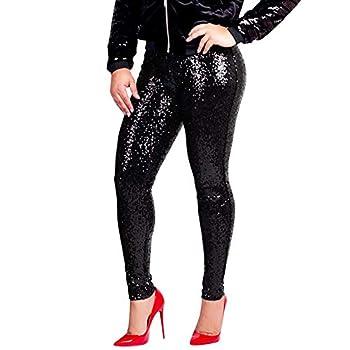 Shiny Sequin Leggings Pants Women Plus Size Pants Ladies Sexy Clubwear Trousers for High Heels  3XL Black