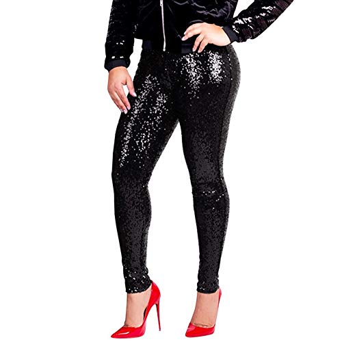 LHWY Pantalones Mujer Cintura Alta Vaqueros Las Mujeres MáS El TamañO De Lentejuelas Brillantes Delgado Leggings Pantalones para Mujer Sexy Clubwear Pantalones