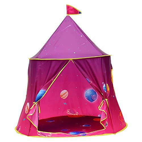 FCFLXJ Niños Plegables Play Carpa, Castillo de Príncipe de Verano Pop Tienda, Playa de Juegos para Interiores y Exteriores, Adecuado para 2-3 Personas,Rojo
