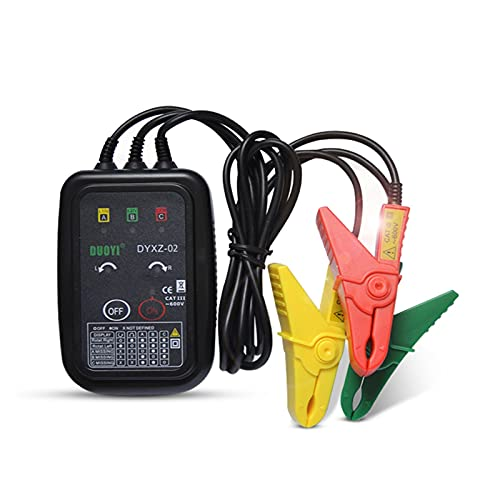 HEMOTONE Medidor de Fase de Detector de detección de detección de Secuencia de Fase No-Contacto Detector Indicador Detector Detector DIRIGIÓ Pantalla 3 Fase Tester (Color : Black)