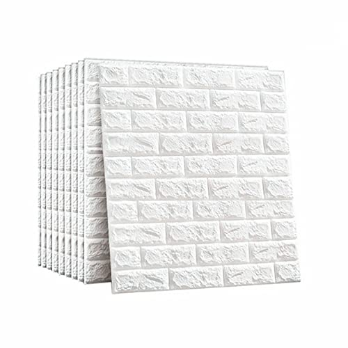 ConPush 3D Wall Panels Peel and Stick PE Foam Self-Adhesive Wallpaper Removable Waterproof Art Wall Tiles 3D Wallpaper for Living Room,Wall Panels for Interior Wall Decor(10 Pack, White 56.9 sq feet)