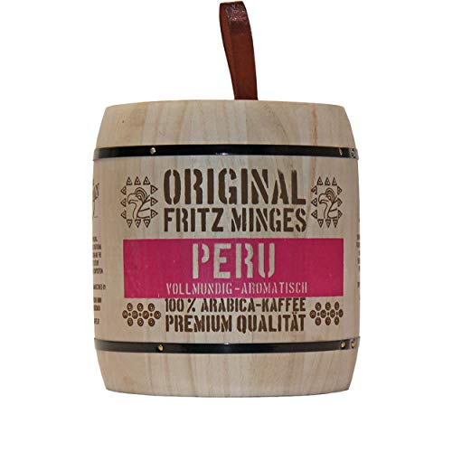 Minges Fritz Peru Hochland, Arabica Kaffee, ganze Bohne, Aroma-Softpack (Holzfass), 250 g