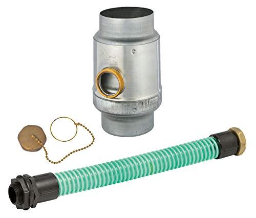 """Regenwassersammler-Set Titanzink, 3tlg, Ø 80 mm, Überlaufschutz, mit 1 1/4"""" Schlauch und Fassanschluß"""