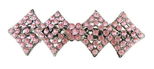 Mesdames filles Diamante Cristal géométrique Barrette à cheveux 10 cm Rose