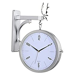 Vintage Double Sided Wall Clock,Metal Silent Wall Hanging Clocks,Creative Round Wall Clocks,360 Degree Rotate Antique Wall Clock Silvery&White 33x50cm(13x19.7inch)