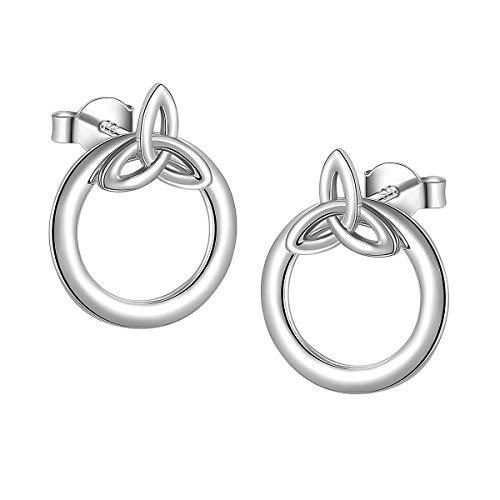 Ladytree Sterling Silver Celtic Knot Circle Ear Jacket Earrings Back Ear Cuffs Chic Stud Earring