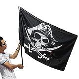 PiniceCore 90 * 150cm Piraten-Flaggen-Schädel-und Kreuz-Knochen-Sabres Schwerter Fahnen Halloween-Festival-Dekoration