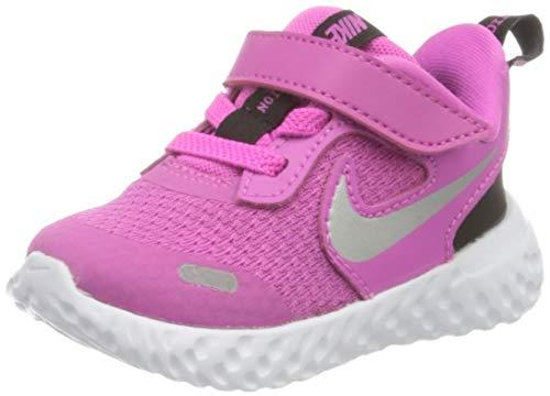 Nike Baby Revolution 5 Velcro Running Shoe, Active Fuchsia/Metallic Silver-Black, 2C Child US Toddler