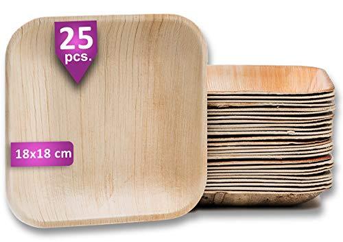Waipur Bio Palmblattteller - 25 Teller Eckig 18x18 cm - Premium Einweggeschirr kompostierbar - Umweltfreundliche Party Teller - Palmblatt Geschirr