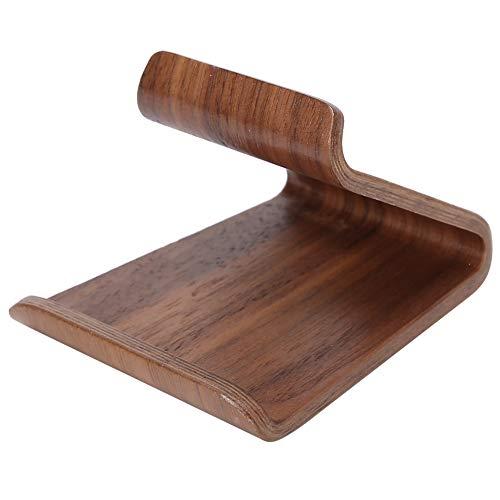 Jeanoko No es fácil de arañar soporte de escritorio Soporte de teléfono móvil de madera Soporte de teléfono móvil de alta dureza para sala de estar para regalo de cumpleaños para iPad (nuez, azul)