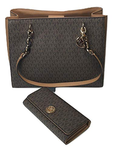 Bundle of 2 items: MICHAEL Michael Kors Sofia Large Shoulder Tote bundled with Michael Kors Fulton Flap Continental Wallet Double top handles with chain detail in gold, Magnetic snap top closure Interior : 2 main compartment, zipped compartment in mi...