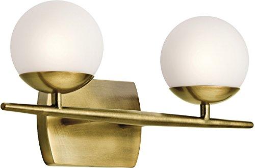 Kichler 45581NBR Jasper Vanity, 2 Light Halogen 100 Total Watts, Natural Brass