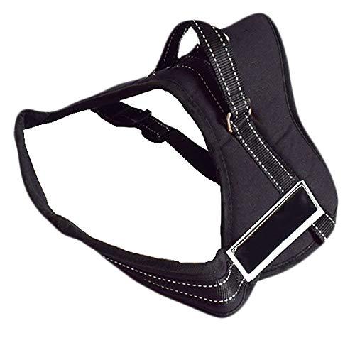 MARXIAO Hundegeschirr Für Große Hunde Anti, Patrol Dog Hundeweste Explosionsgeschützte Wear-Resistant Bequeme Breathable Haustier-Leine Reflektierende Dog Rope-Brustgurt,Schwarz,S