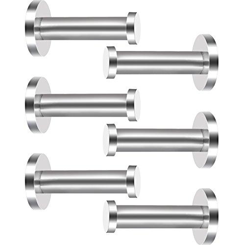 eBoot 6 Stück Wandhaken aus Rostfreiem Stahl, Kleiderhaken, Wandhaken, Nickel, Gebürstetes Nickel (Silber, 3 Zoll)