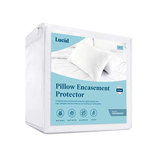 LUCID Zippered Encasement Pillow Protector - Waterproof, Allergen Proof, Bed Bug Proof Protection - 15 Year Warranty - Vinyl Free - Standard Size - Set of 2