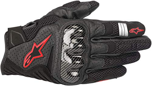 Alpinestars Men's SMX-1 Air v2 Motorcycle Riding Glove, Black/Fluorecent Red, X-Large