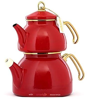 Vintage Enamel Turkish Teapot Samovar - Nostalgic Retro Samovar Kettle Special Design Midi Size Caydanlik 2 Lt (Red)